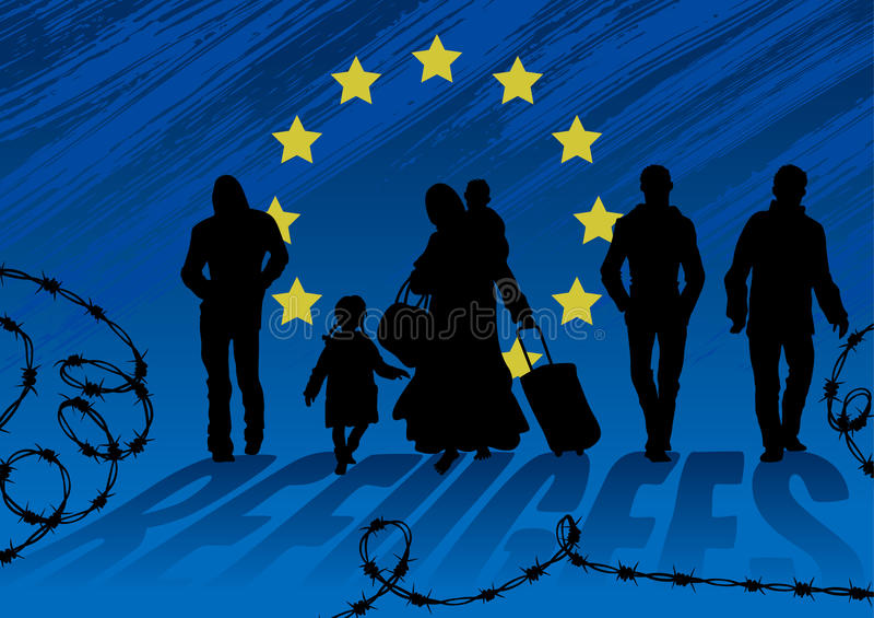 难民男人和妇女有孩子的 走的妇女赤足,装载与重的袋子和孩子 人去其次和没有帮助他 库存例证