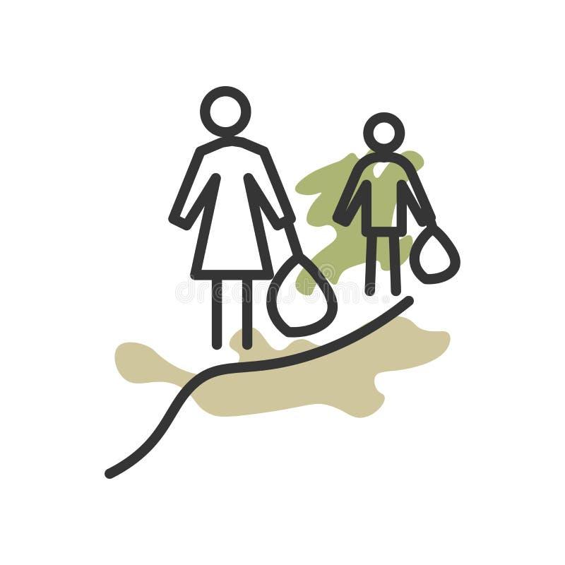 难民象在白色背景和标志隔绝的传染媒介标志,难民商标概念 向量例证