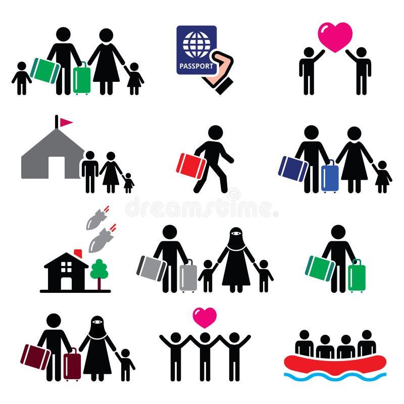 难民,移民,跑远离他们的国家象的家庭被设置 库存例证