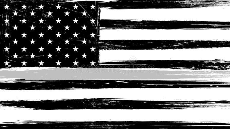 难看的东西与一条稀薄的灰色或银色线的美国旗子 库存例证