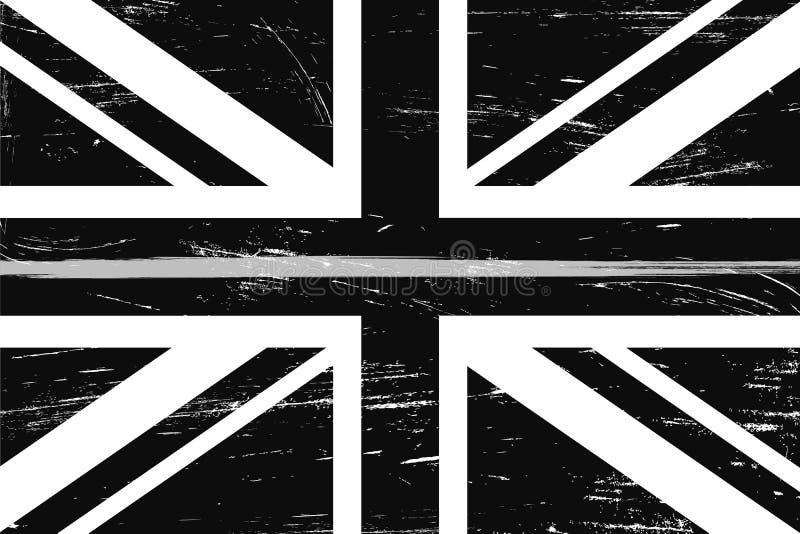 难看的东西与一条稀薄的灰色或银色线的英国旗子 皇族释放例证