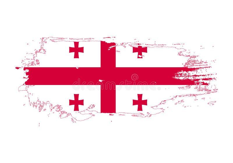 难看的东西与乔治亚国旗的刷子冲程 水彩绘画旗子 标志,海报,横幅 在白色查出的向量 皇族释放例证