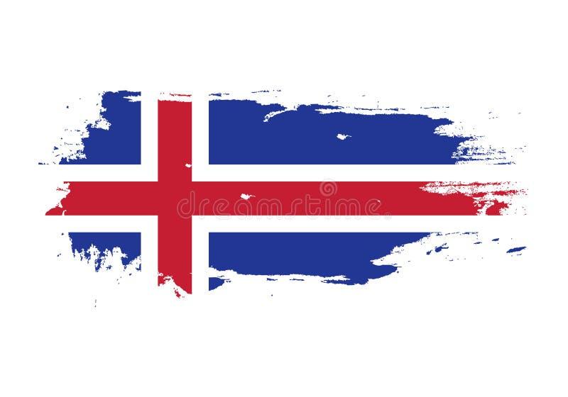 难看的东西与冰岛国旗的刷子冲程 水彩绘画旗子 标志,海报,横幅 在白色查出的向量 库存例证
