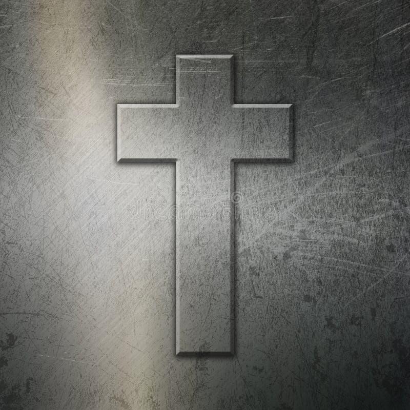 难看的东西与十字架的掠过的金属背景 皇族释放例证