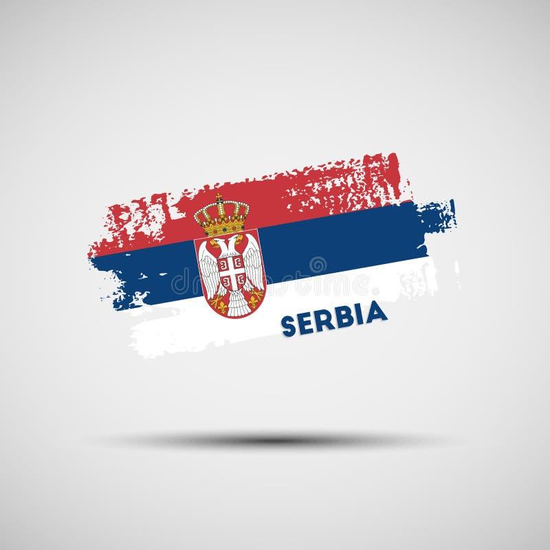 难看的东西与塞尔维亚国旗颜色的刷子冲程 库存例证