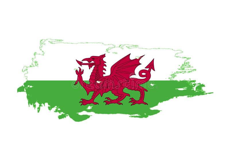 难看的东西与威尔士国旗的刷子冲程 水彩绘画旗子 标志,海报,横幅 在白色查出的向量 库存例证