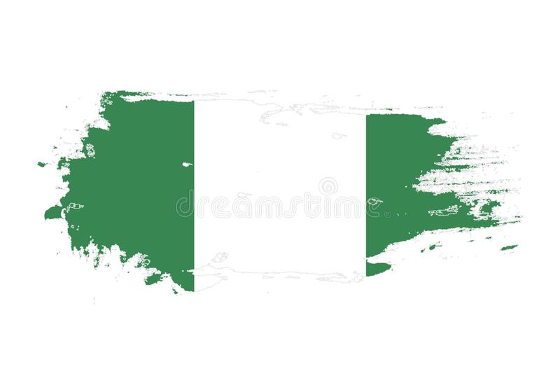 难看的东西与尼日利亚国旗的刷子冲程 水彩绘画旗子 标志,海报,横幅 在白色查出的向量 库存例证