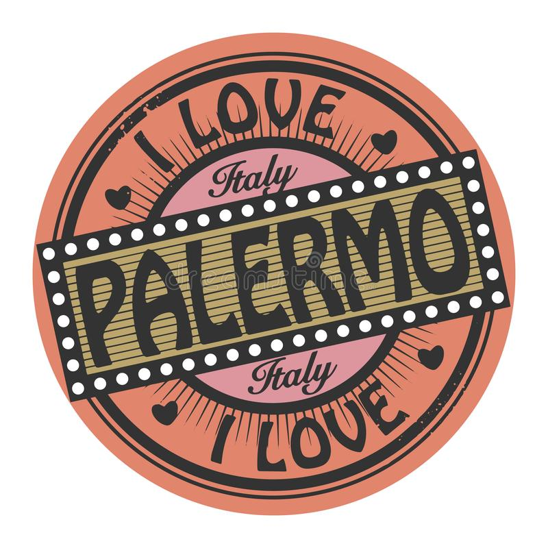 难看的东西与文本的颜色邮票我爱巴勒莫里面 库存例证