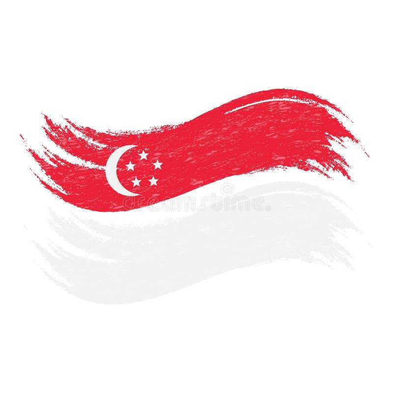 难看的东西与新加坡国旗的刷子冲程在白色背景隔绝了 也corel凹道例证向量 向量例证