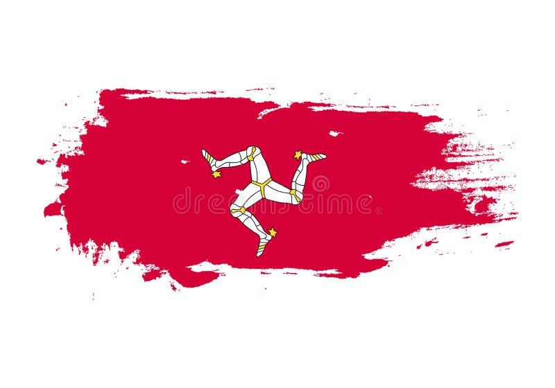 难看的东西与曼岛国旗的刷子冲程 水彩绘画旗子 标志,海报,横幅 在白色查出的向量 向量例证