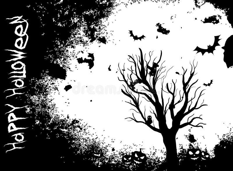 难看的东西与树和棒的万圣夜背景 向量例证