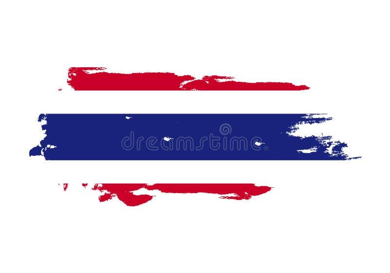 难看的东西与泰国国旗的刷子冲程 水彩绘画旗子 标志,海报,横幅 在白色查出的向量 皇族释放例证