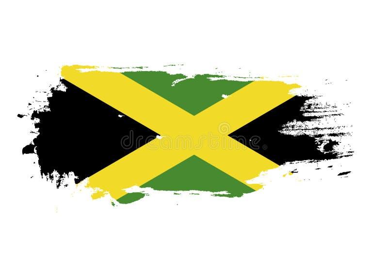 难看的东西与牙买加国旗的刷子冲程 水彩绘画旗子 标志,海报,横幅 在白色查出的向量 向量例证