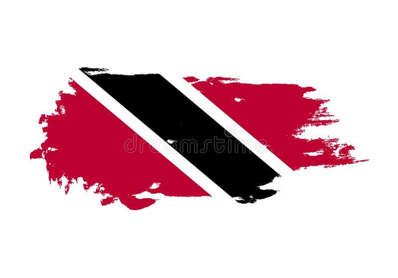 难看的东西与特立尼达和多巴哥国旗的刷子冲程 水彩绘画旗子 标志,海报,横幅 被隔绝的传染媒介  向量例证