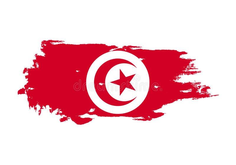 难看的东西与突尼斯国旗的刷子冲程 水彩绘画旗子 标志,海报,横幅 在白色查出的向量 库存例证