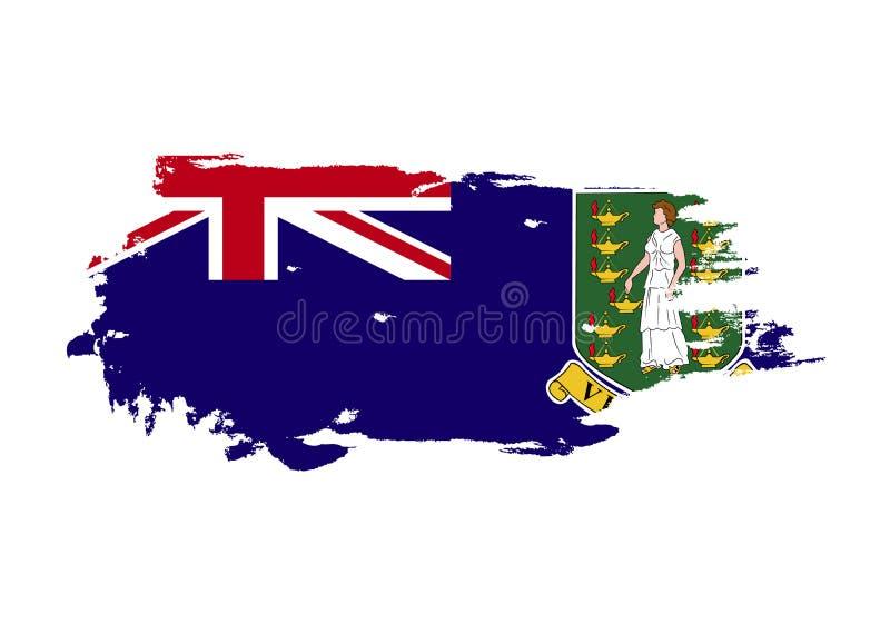 难看的东西与维尔京群岛国旗的刷子冲程 水彩绘画旗子 标志,海报,横幅 在白色查出的向量 向量例证