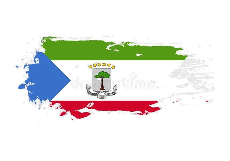 难看的东西与赤道几内亚国旗的刷子冲程 水彩绘画旗子 标志,海报,国旗的横幅 库存例证
