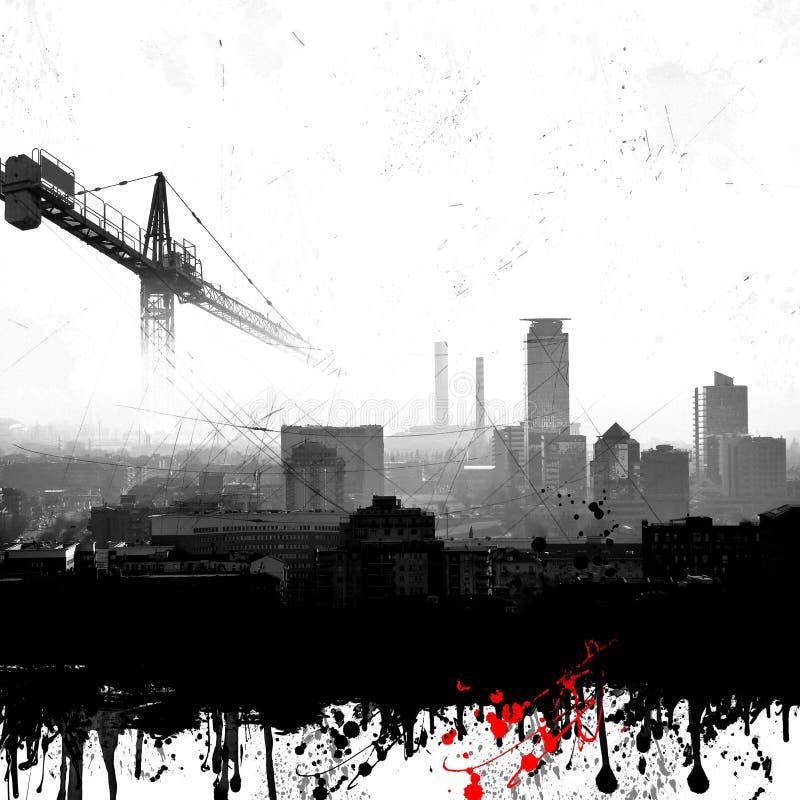 难看的东西与起重机的城市地平线 库存照片