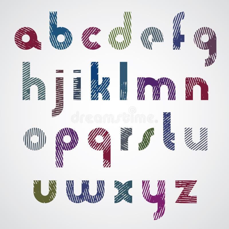 难看的东西五颜六色的被摩擦的小写字母,装饰字体 库存例证