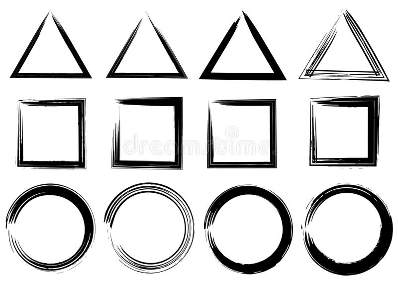 难看的东西传染媒介圈子、三角和长方形 电刷组冲程 库存例证