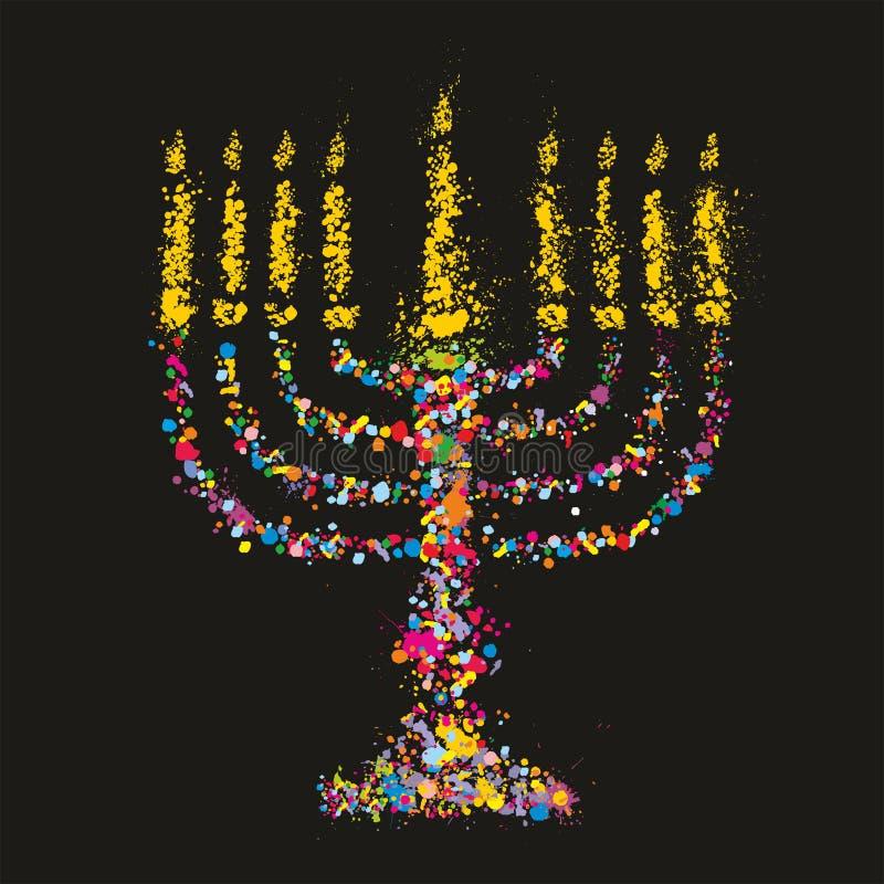 难看的东西传统化了五颜六色的Chanukiah (menorah)在黑背景 向量例证