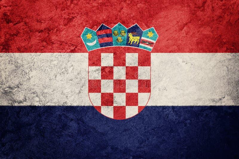 难看的东西克罗地亚旗子 与难看的东西纹理的克罗地亚旗子 免版税库存图片