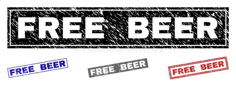 难看的东西免费啤酒织地不很细长方形邮票封印 库存例证