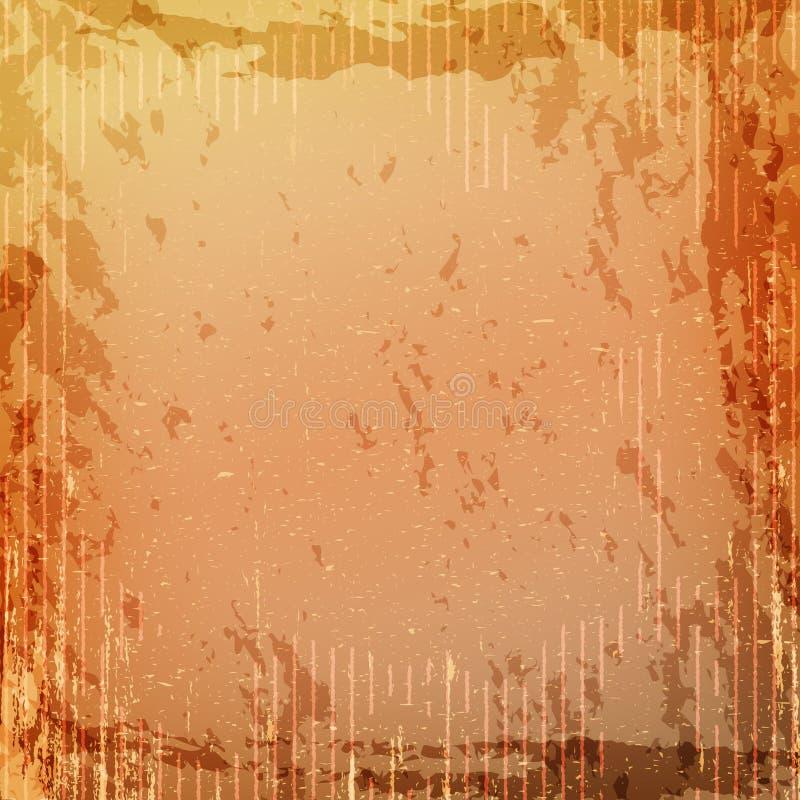 难看的东西减速火箭的葡萄酒纸纹理,脏的老橙黄色背景 向量例证