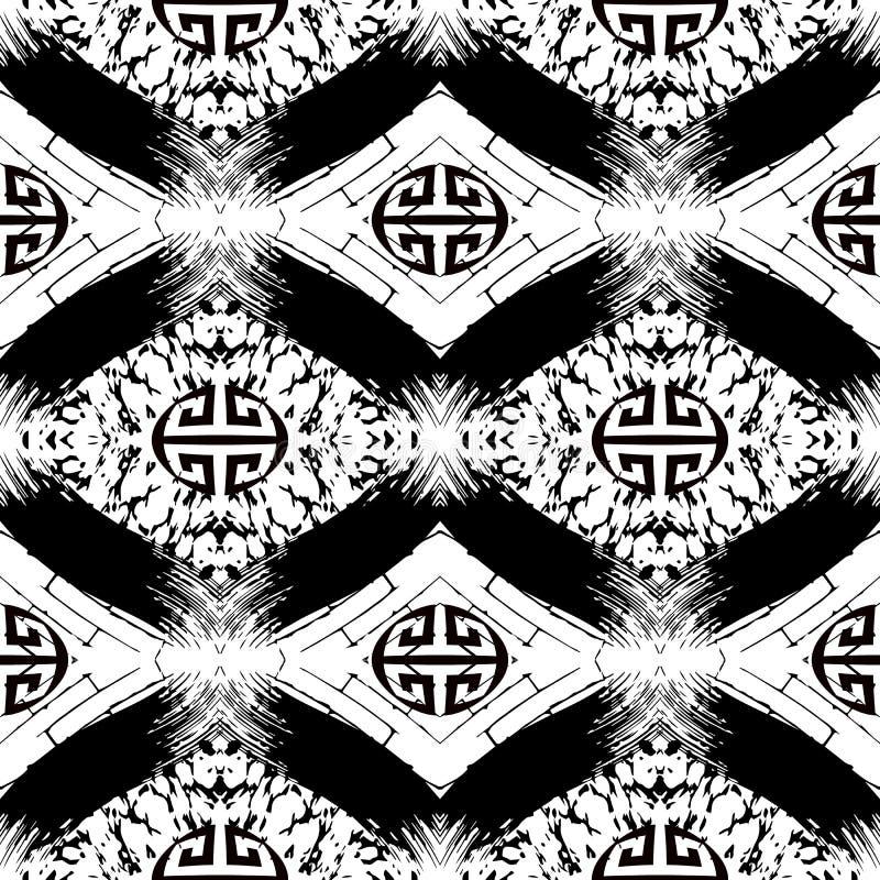 难看的东西几何无缝的样式 传染媒介之字形希腊样式背景 雪佛重复黑白几何背景 ?? 库存例证