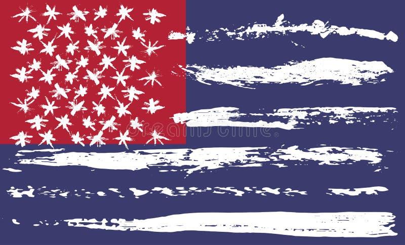 难看的东西刷子美国旗子 红色和蓝色传染媒介例证 向量例证