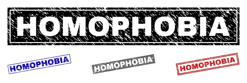 难看的东西同性恋恐惧症构造了长方形水印 向量例证