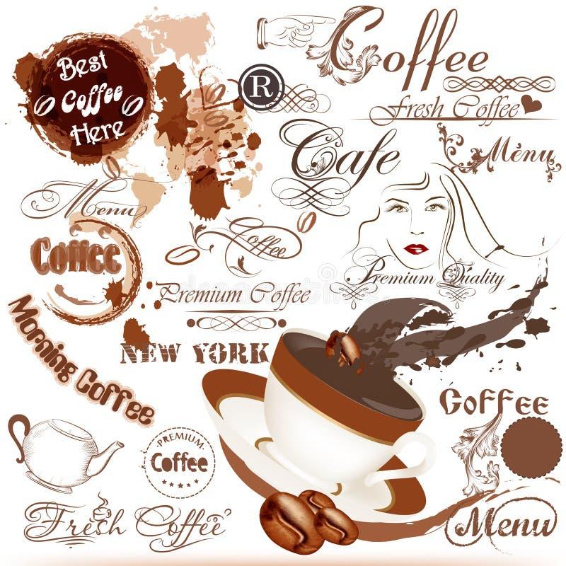 难看的东西咖啡标签、署名和元素集 皇族释放例证