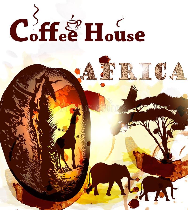 难看的东西咖啡海报用咖啡粒、斑点和非洲动物 库存例证