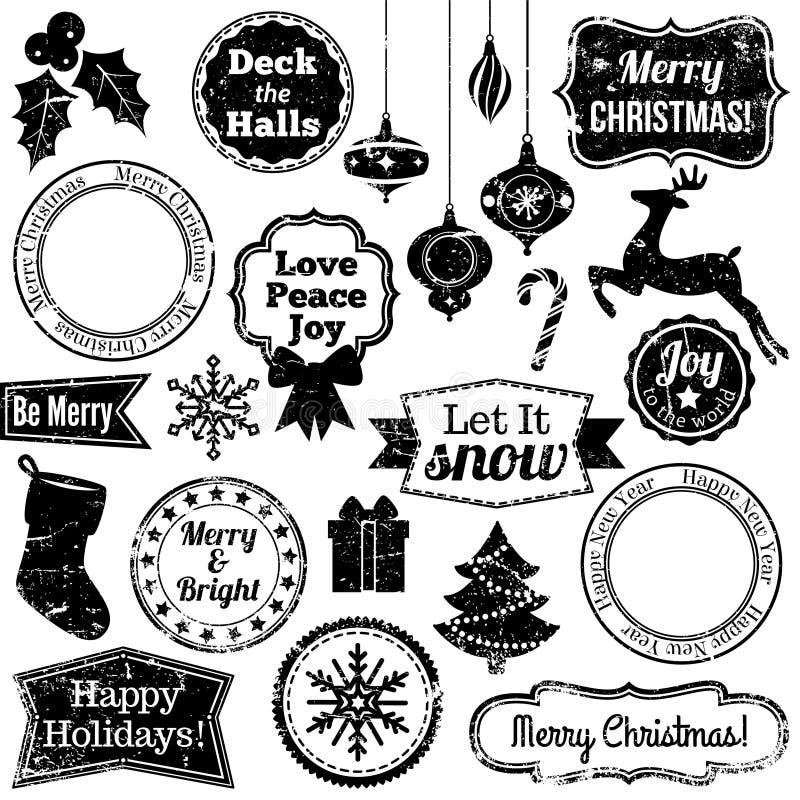 难看的东西圣诞节和假日邮票的传染媒介汇集 向量例证