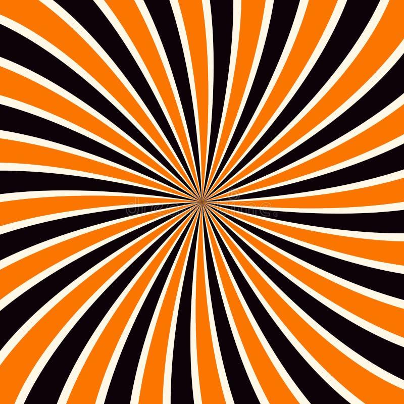 难看的东西在万圣夜传统颜色的光束背景 橙色和黑太阳发出光线抽象墙纸 向量例证