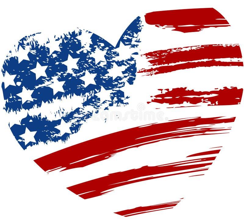 难看的东西在心脏形状的美国旗子 向量例证