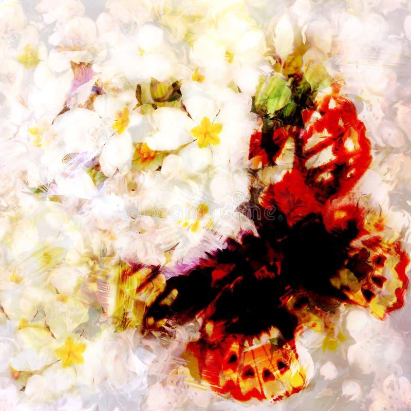 难看的东西在朦胧的花卉背景的被弄脏的蝴蝶 库存例证