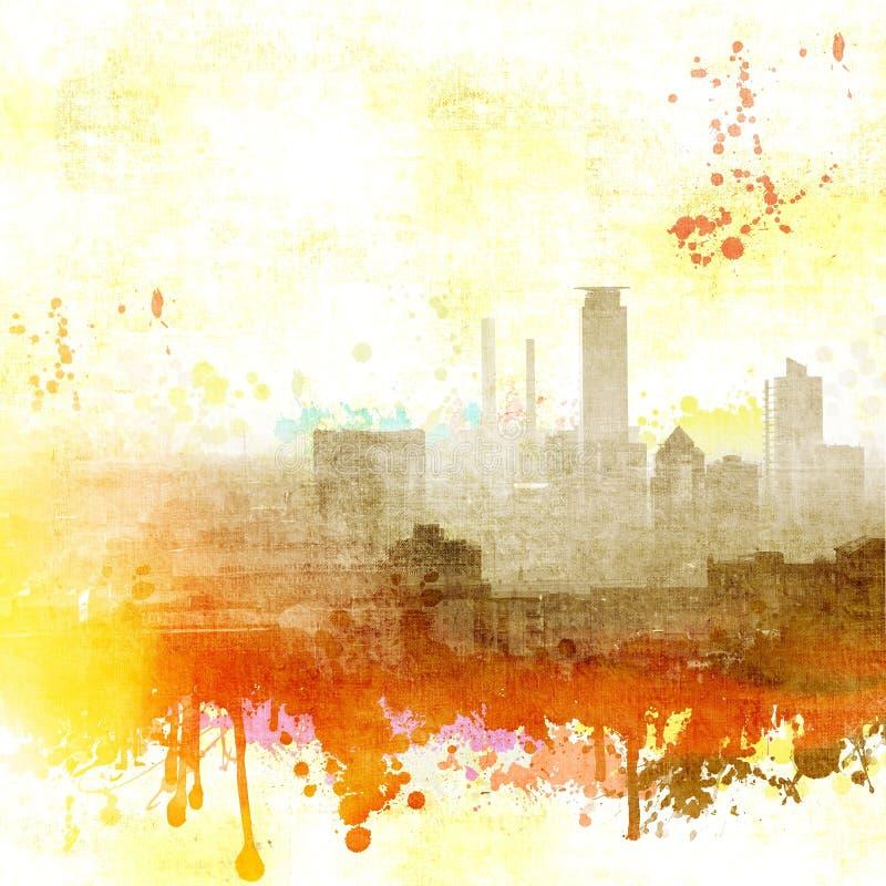 难看的东西在白色,红色和黄色口气的城市地平线 免版税库存图片