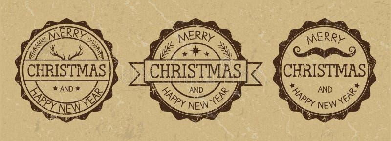 难看的东西在老纸背景的圣诞节邮票 狂放的西部样式 皇族释放例证