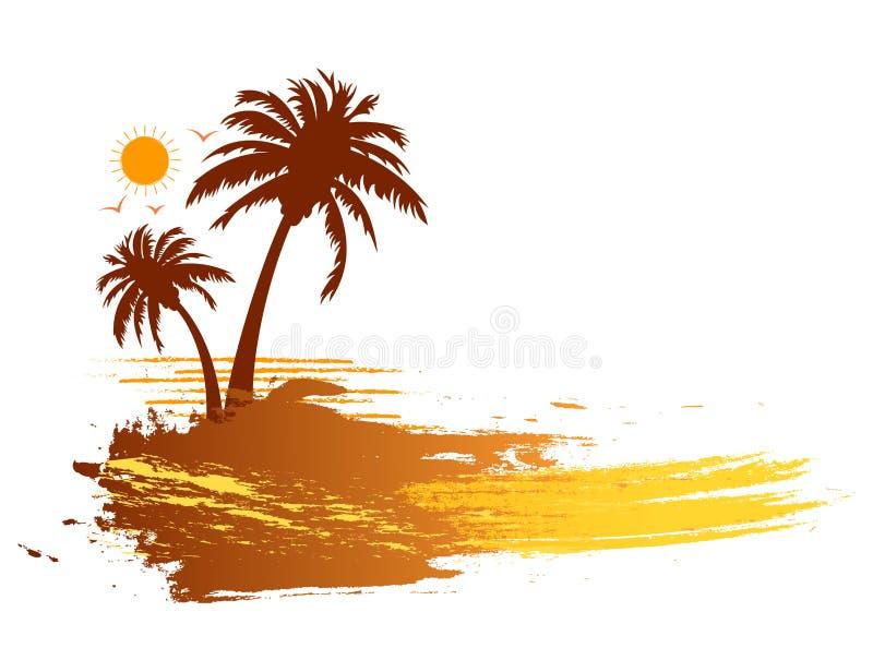 难看的东西夏天热带棕榈树横幅 向量例证