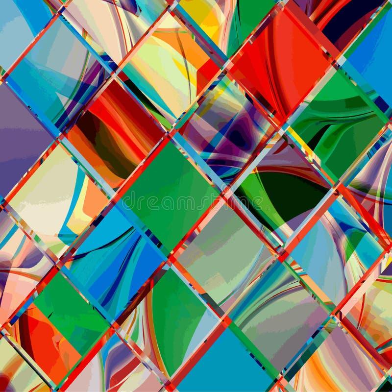 难看的东西方格的五颜六色的几何构成 向量例证