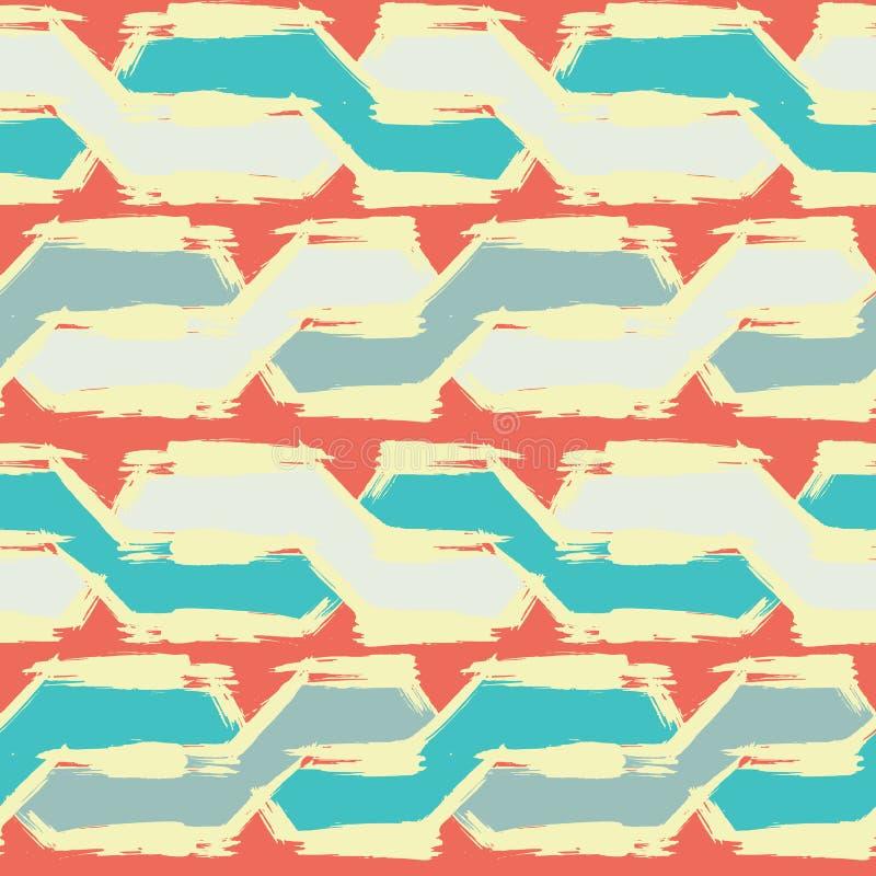 难看的东西无缝的模式 抽象烘干刷子冲程背景 蓝色和橙色手拉的纹理 也corel凹道例证向量 库存例证