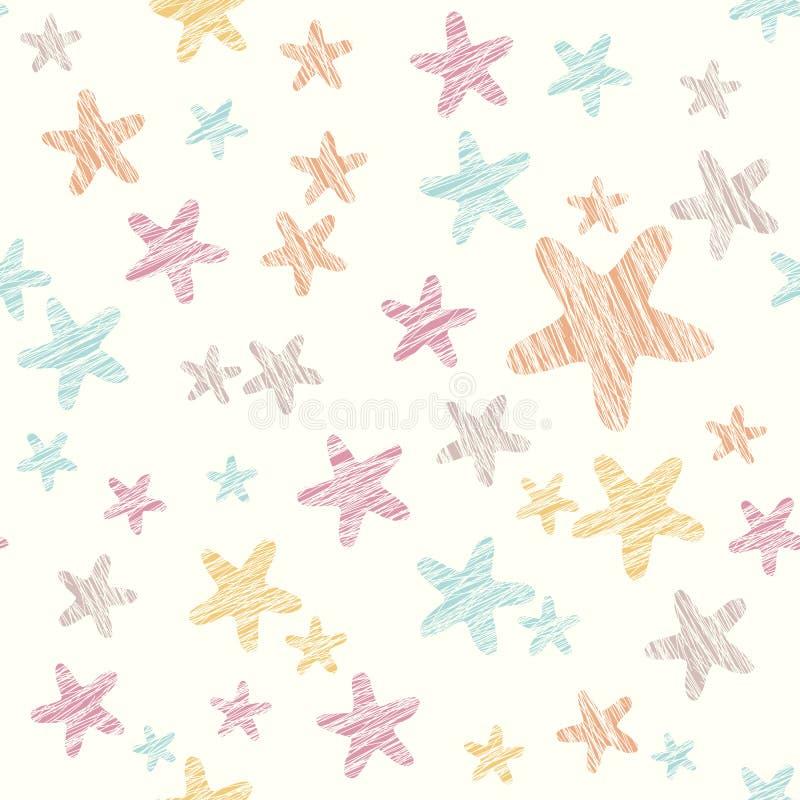难看的东西星背景 无缝的模式 五颜六色的党纹理 皇族释放例证