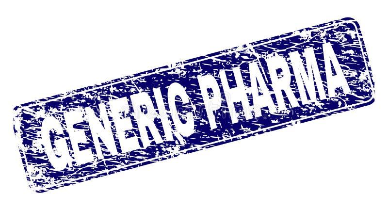 难看的东西普通PHARMA构筑了被环绕的长方形邮票 库存例证
