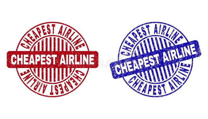 难看的东西最便宜的航空公司抓了圆的邮票封印 向量例证