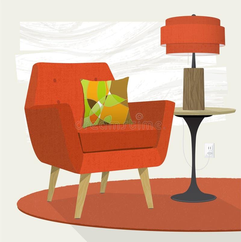 难看的东西构造了减速火箭的花patternLiving的室场面橙色躺椅和台灯 库存例证