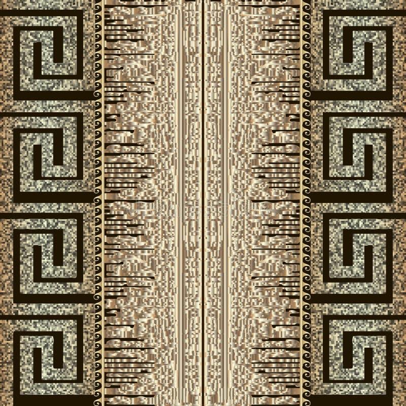 难看的东西构造了金子3d希腊传染媒介无缝的样式 几何现代脏的数字映象点样式背景 被仿造的重复 皇族释放例证