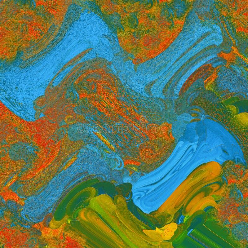 难看的东西油漆斑点艺术 在帆布的丙烯酸酯的绘的冲程 现代的艺术 厚实的油漆帆布 艺术品的片段 向量例证