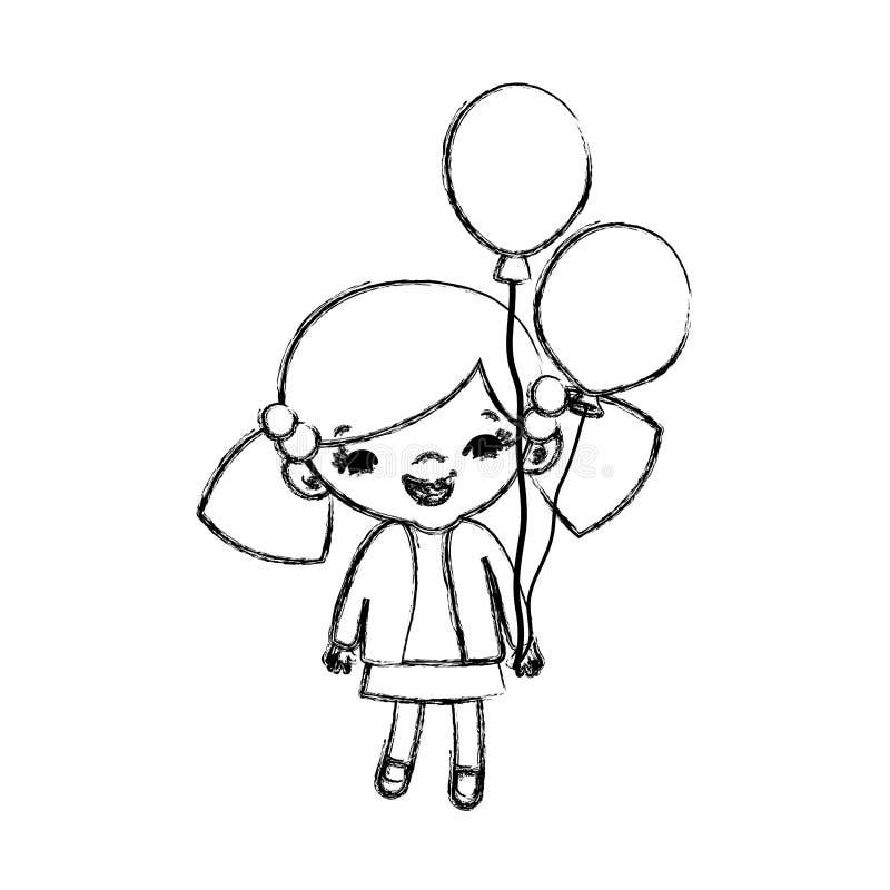 难看的东西秀丽有发型和气球的女孩孩子 向量例证