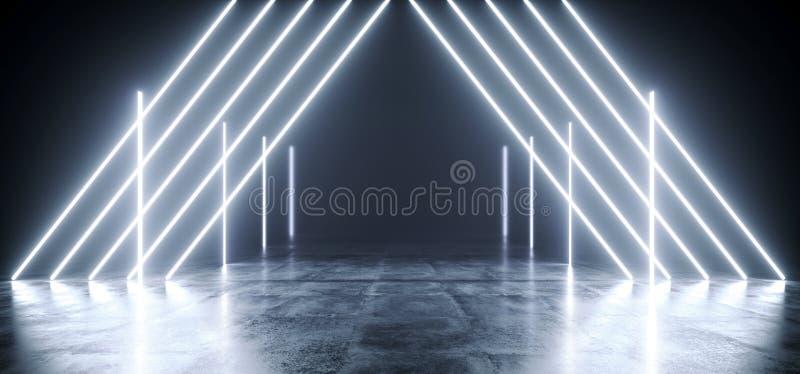 难看的东西科学幻想小说具体隧道太空飞船霓虹白色冰发光的形状三角垂直线管未来派反射性走廊 皇族释放例证